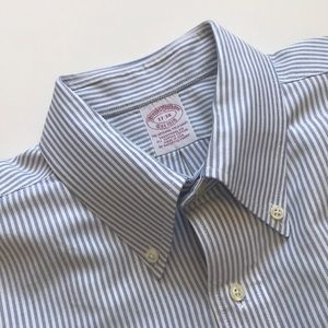 Brooks Brothers dress shirt blue white stripe 17